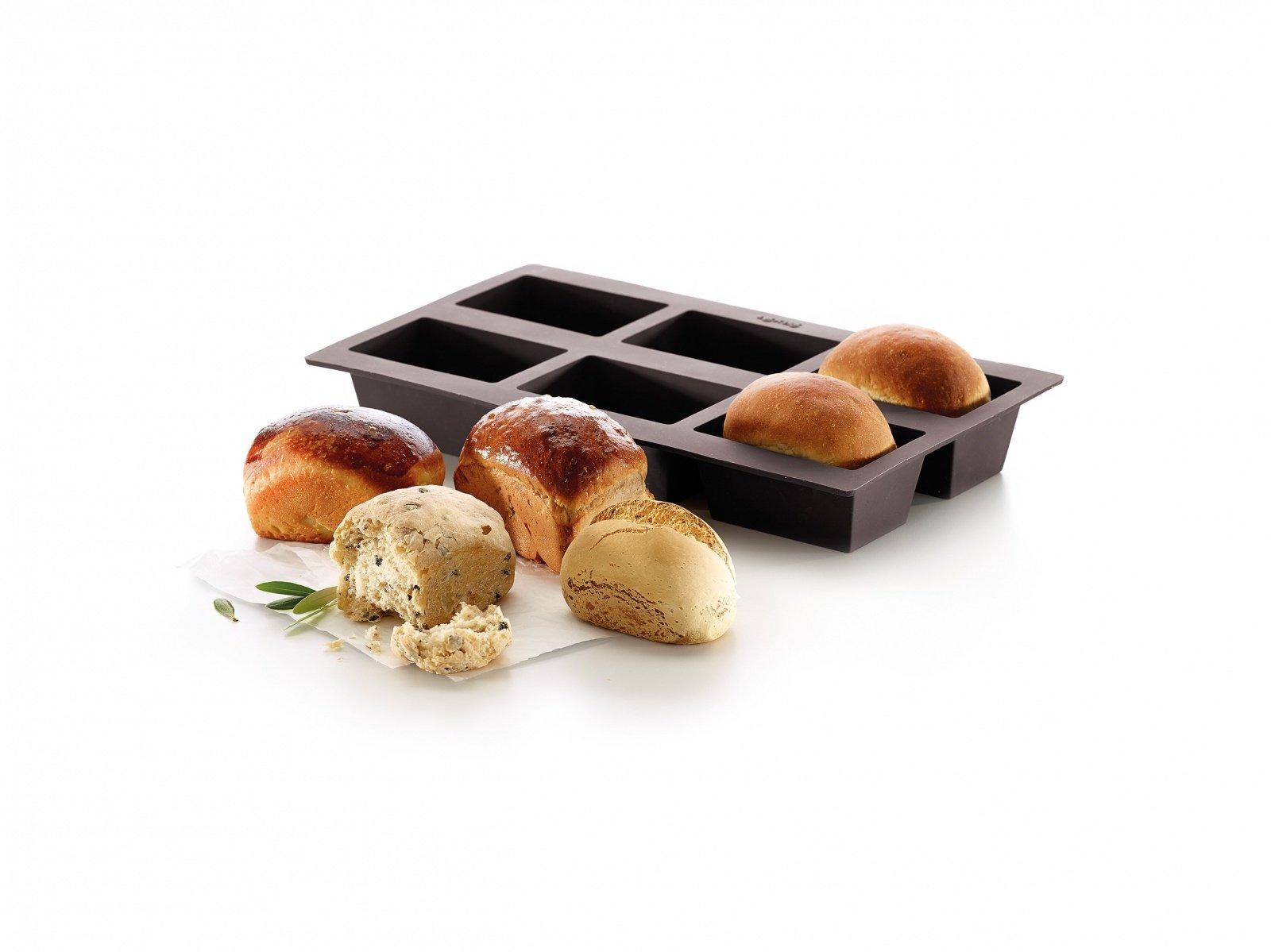 """Форма для хлеба """"Прямоугольные булочки 6 шт."""" Lekue силиконовая, коричневый"""