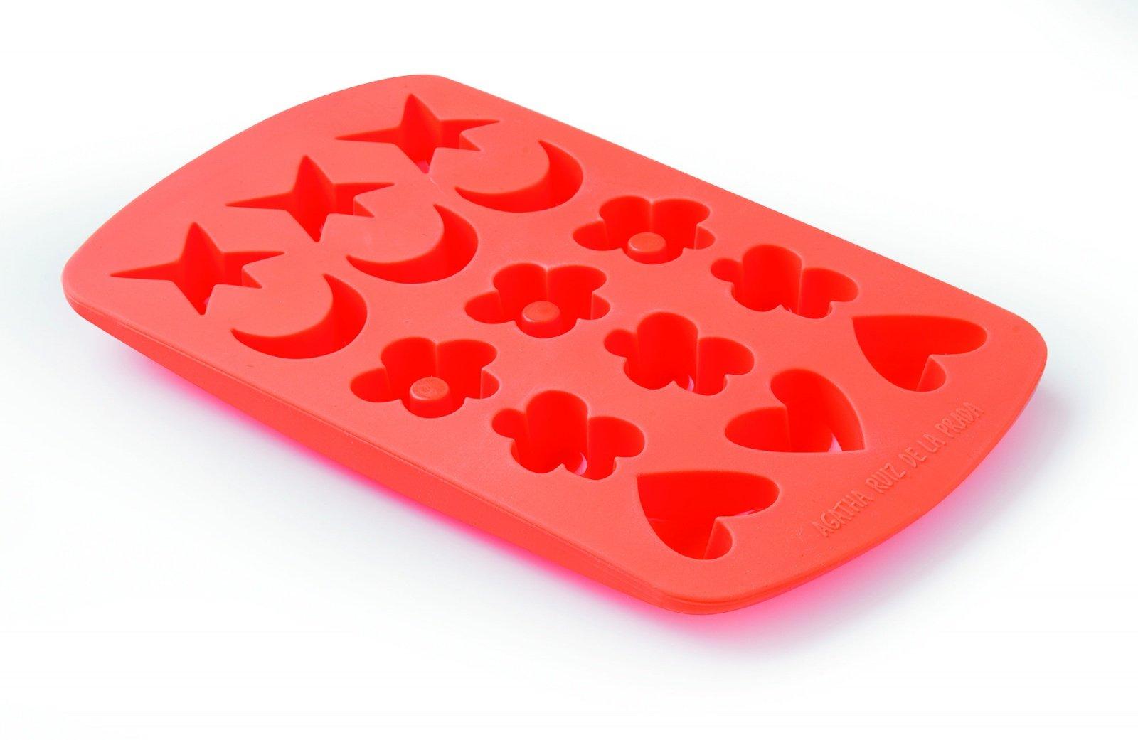 "Форма для шоколадных и мармеладных конфет ""Ассорти"" AGATHA Lekue: месяц, сердечко, звезда, цветок, оранжевая"