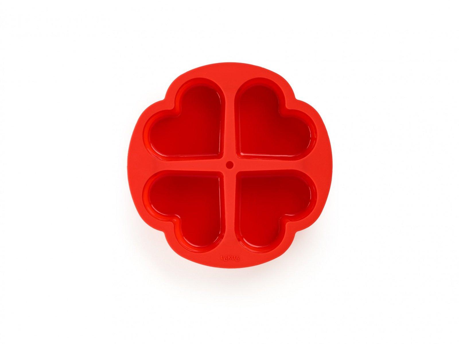 Форма для кексов Lekue «4 сердечка», (цвет:красный )
