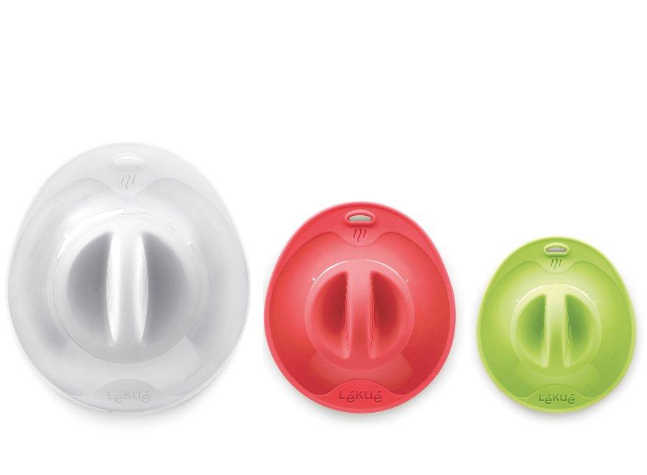 Набор крышек силиконовых Lekue (Ø25, Ø21, Ø17), салатовый, красный, белый