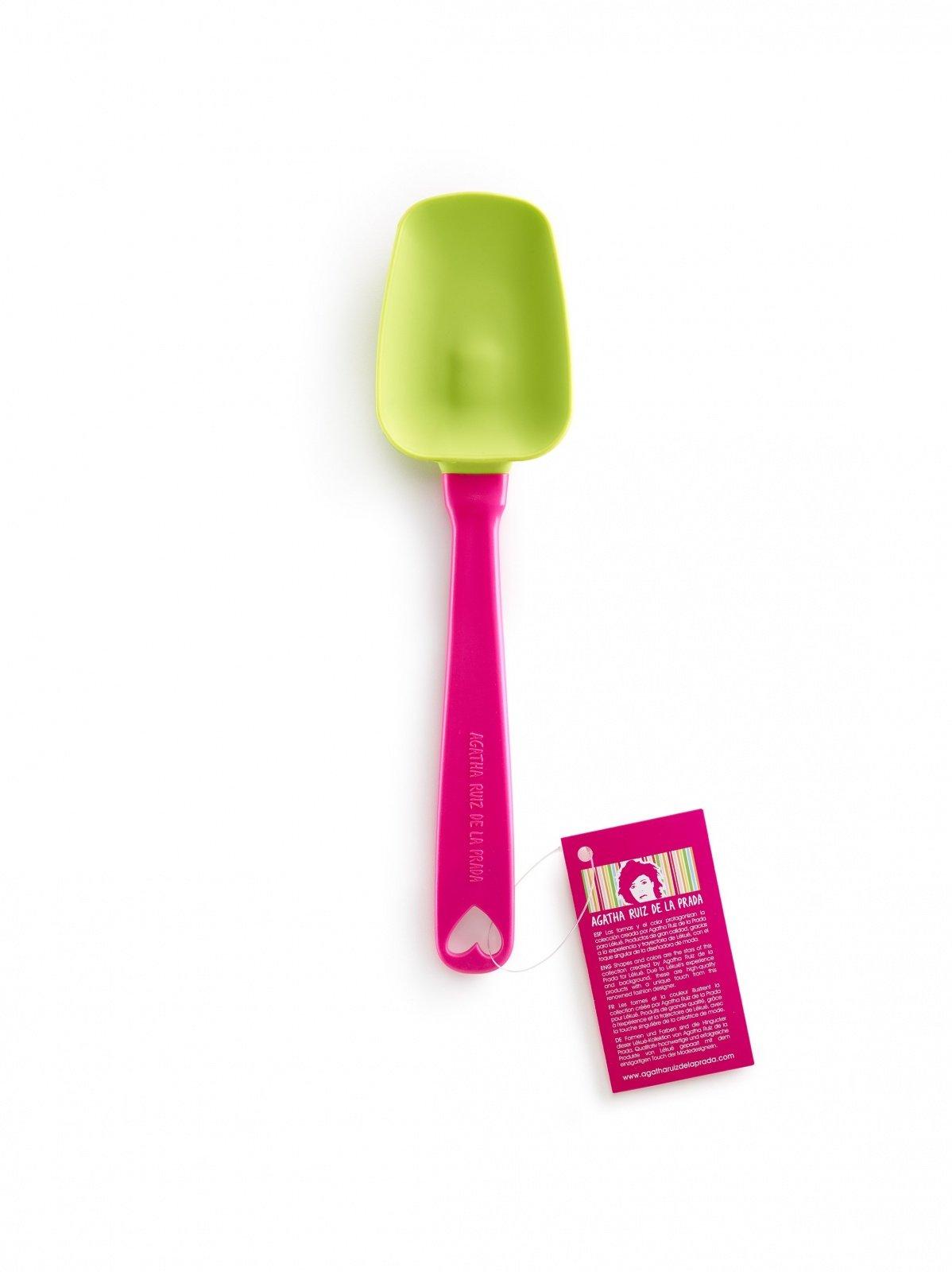 Ложка силиконовая AGATHA Lekue, салатовая, розовая ручка, 10,6 см