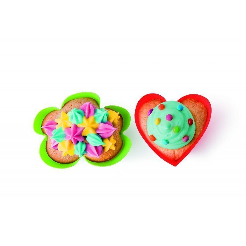 """Набор форм для маффинов """"Сердце и Облако"""" AGATHA Lekue, 12 шт, красный и зеленый"""